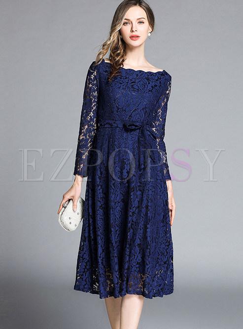 Slash Neck Hollow Out Long Sleeve Waist Lace Dress
