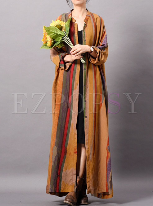 Casual Striped Stand Collar Single-breasted Long Coat