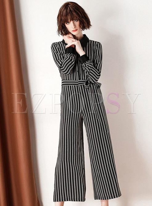 bdc581d63f3 Pants.   Striped Lapel High Waist Belted Wide Leg Jumpsuit