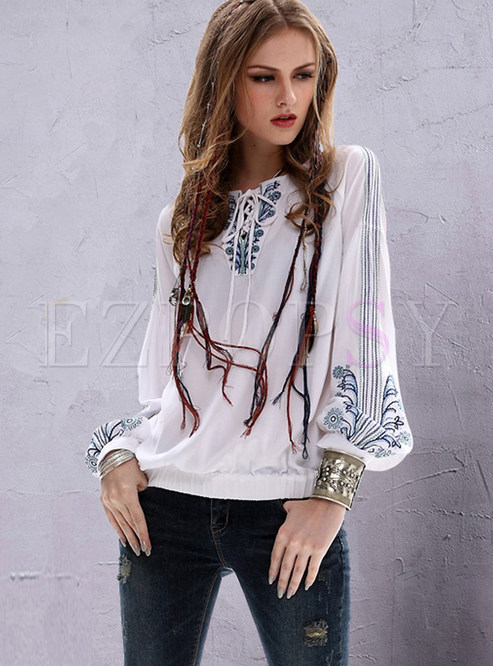 Retro Lantern Sleeve Tied Embroidered Loose Blouse