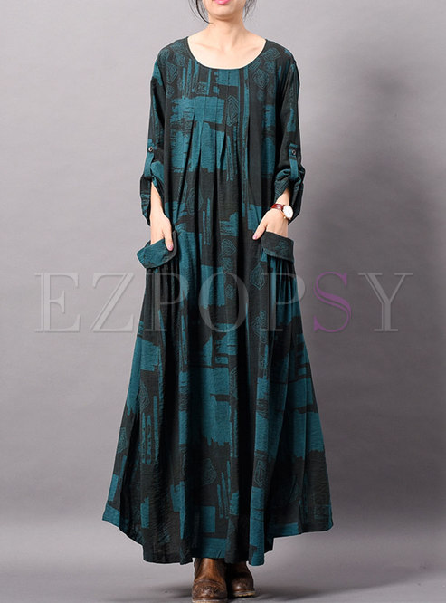 Retro Print O-neck Asymmetric Loose Ankle-length Dress