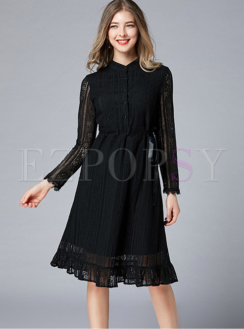 Black Mock Neck Long Sleeve Plus Size Lace Dress