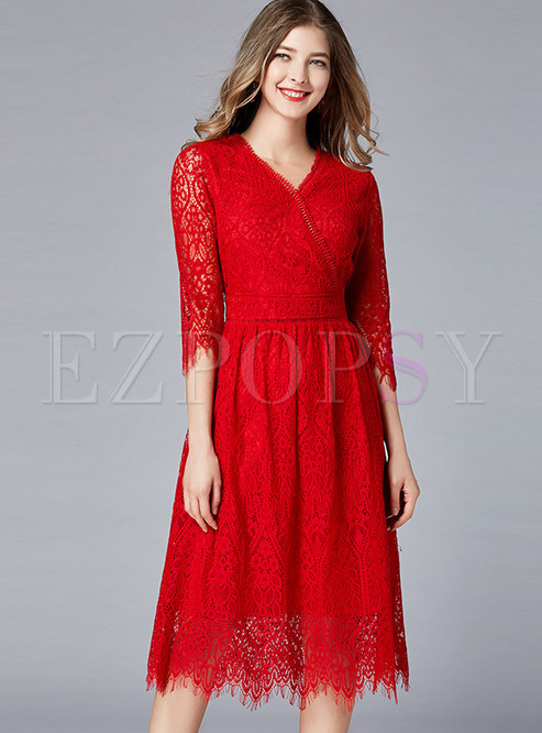 Elegant V-neck Plus Size Mid-claf Toast Dress