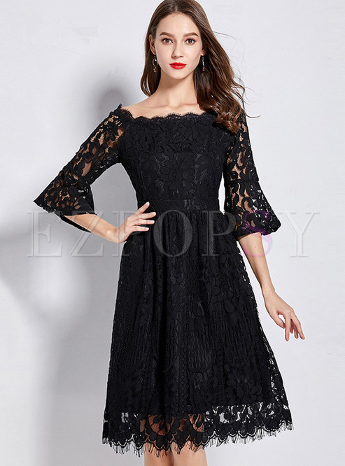 Trendy Slash Neck Flare Sleeve Lace Waist Plus Size Dress
