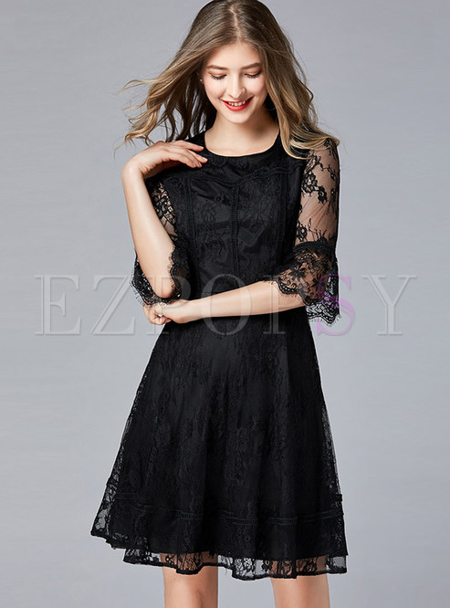 Perspective Flare Sleeve Splicing Plus Size Skater Dress