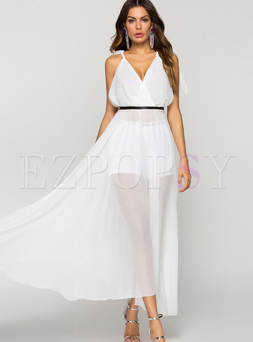 Sexy V-neck Perspective Backless Chiffon Maxi Dress