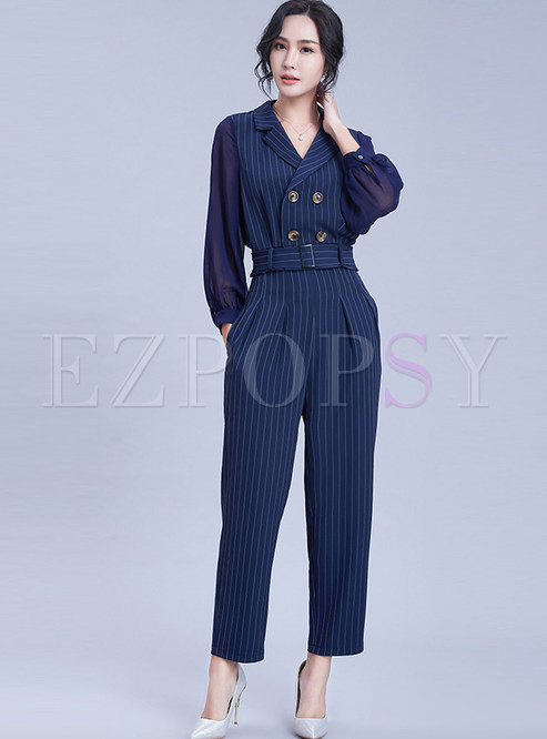 Stylish Notched Long Sleeve Striped Two Piece Outfits