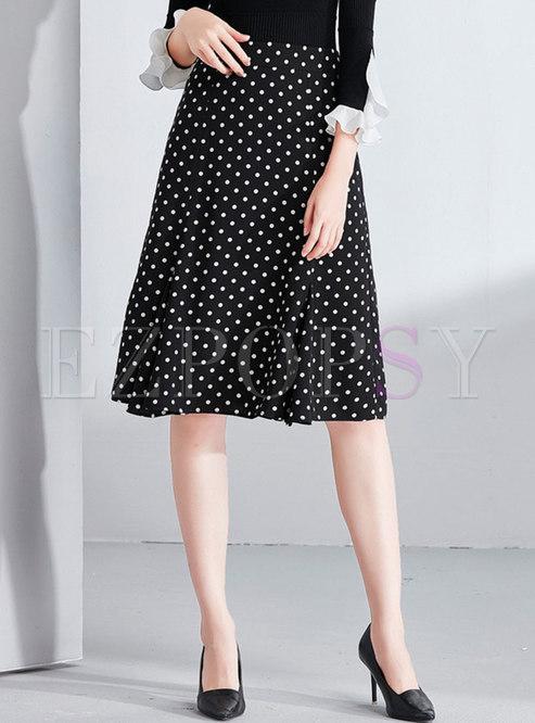 Trendy Polka Dot High Waist Mermaid Skirt