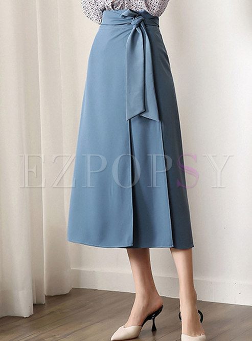 Pure Color High Waist Belted A Line Skirt