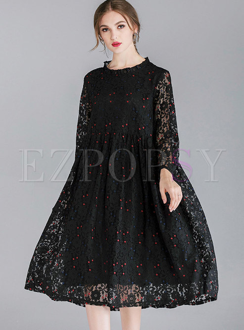 Stylish Color-blocked Ruffled Collar See-through Loose Lace Dress