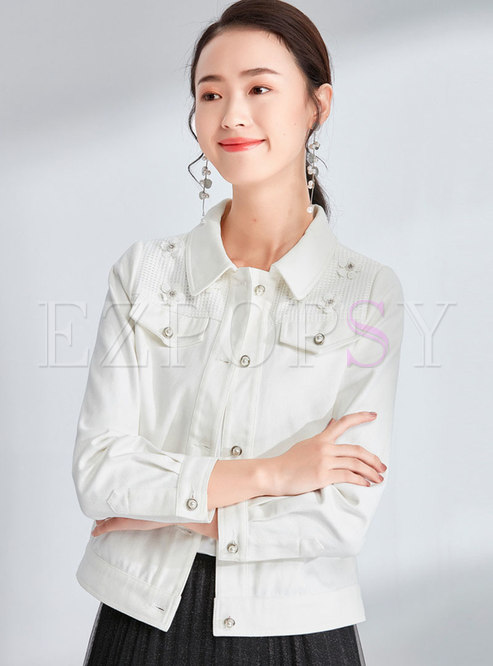 Brief White Lapel Stereoscopic Flower Single-breasted Short Coat