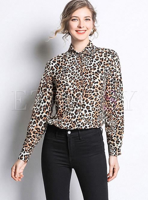 Fashion Lapel Leopard Single-breasted Blouse