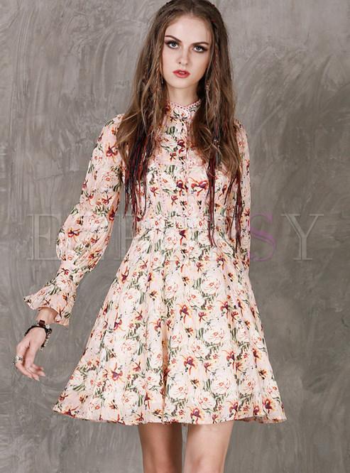 Skater Dresses.   Fashion Standing Collar Long Sleeve Floral Mini Dress 8dd15d160