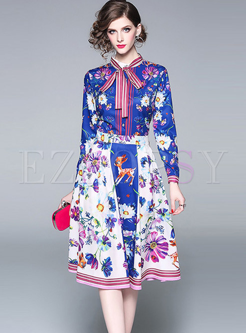 Court Standing Collar Bowknot Tied Long Sleeve Print Dress
