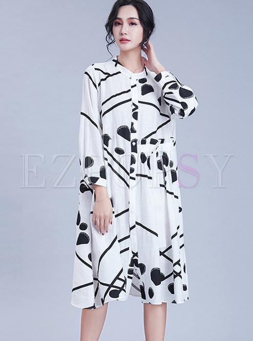 O-neck Long Sleeve Plus Size Print Shift Dress