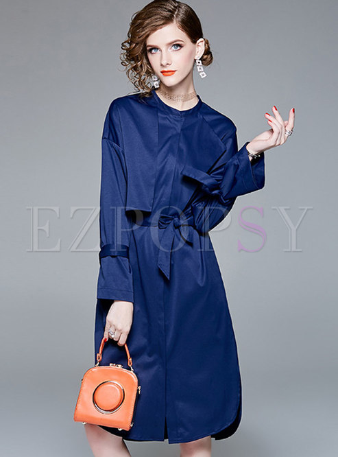 Brief Blue Crew-neck Long Sleeve Buttoned Coat