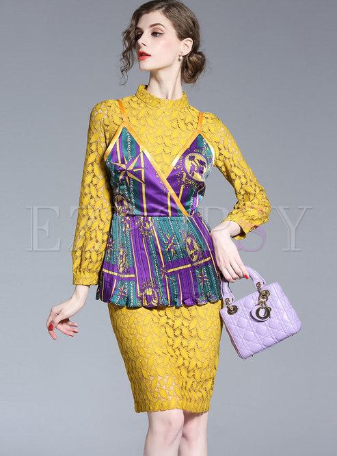 Chic Lace Stand Collar See-through Sheath Dress & Print Slim Cami