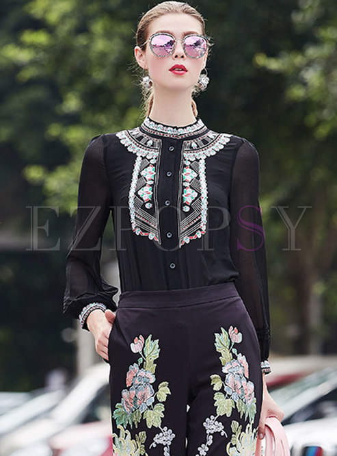 Elegant Black Embroidered Stand Collar Single-breasted Blouse