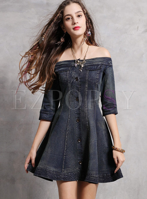 Retro Slash Neck Three Quarters Sleeve Skater Dress