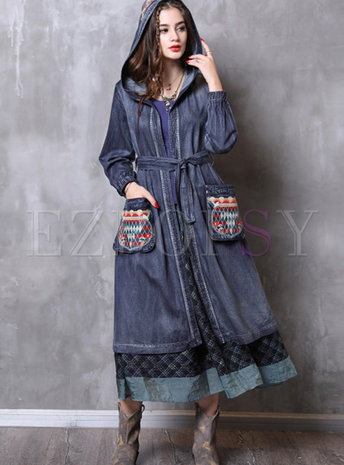Vintage Embroidered Hooded Plus Size Denim Trendy Coat