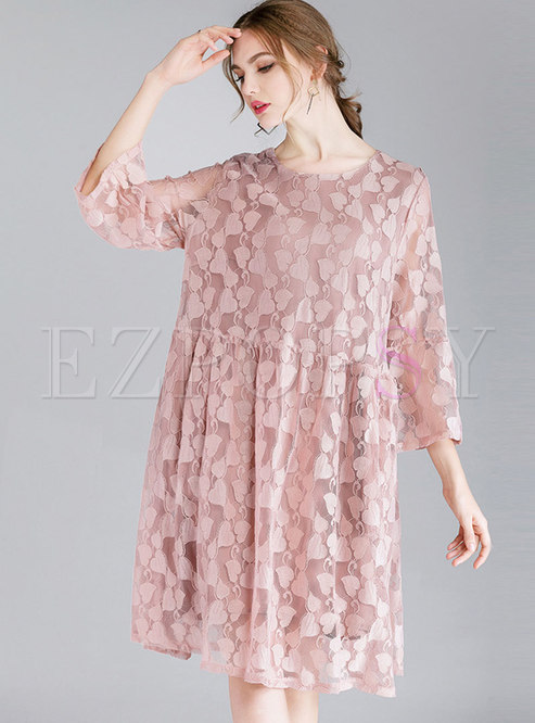 Pure Color O-neck Bowknot Shift Lace Dress