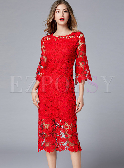 O-neck Plus Size Hollow Out Lace Mid-claf Slim Dress
