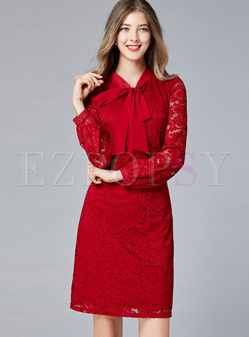 Bowknot Standing Collar Long Sleeve Lace Dress