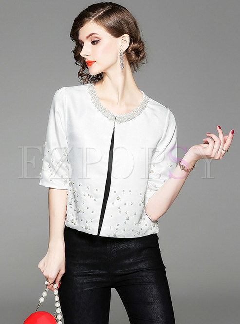 Elegant Beaded Half Sleeve Short Coat
