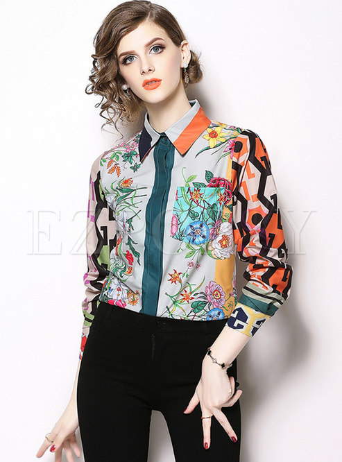 Chic Color-blocked Print Lapel Slim Blouse