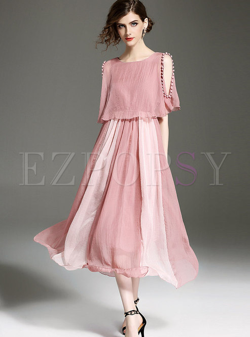 Pink Off Shoulder Stitching Short Sleeve Maxi Dress