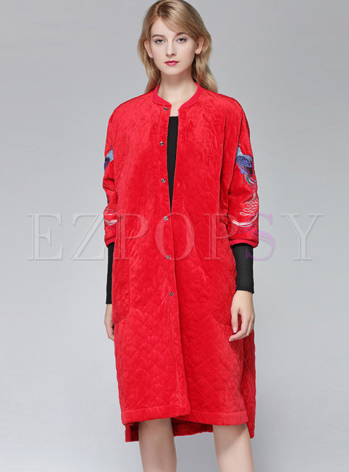 Retro O-neck Three Quarters Sleeve Embroidered Coat