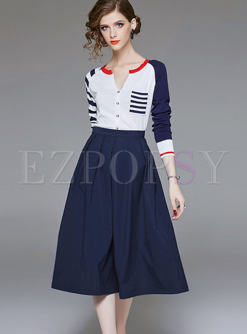 Fashion Crew-neck Knitted Top & High Waist Big Hem Skirt