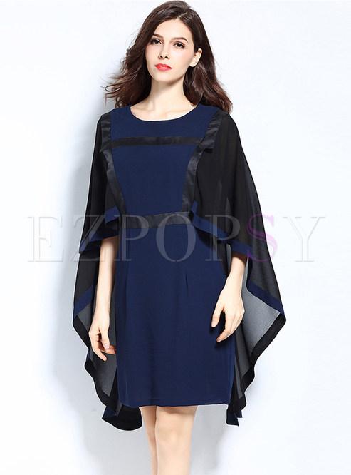 Color-blocked Three Quarters Sleeve Chiffon Bodycon Dress