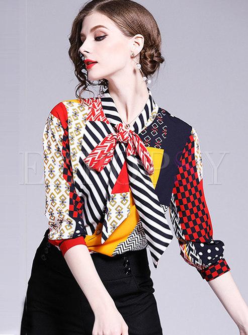 Stylish Color-blocked Tie-collar Bowknot Chiffon Blouse