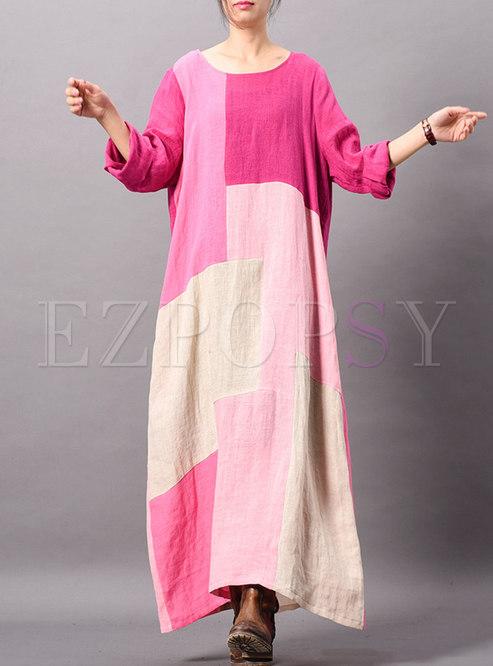 Casual Color-blocked Splicing O-neck Loose Maxi Dress