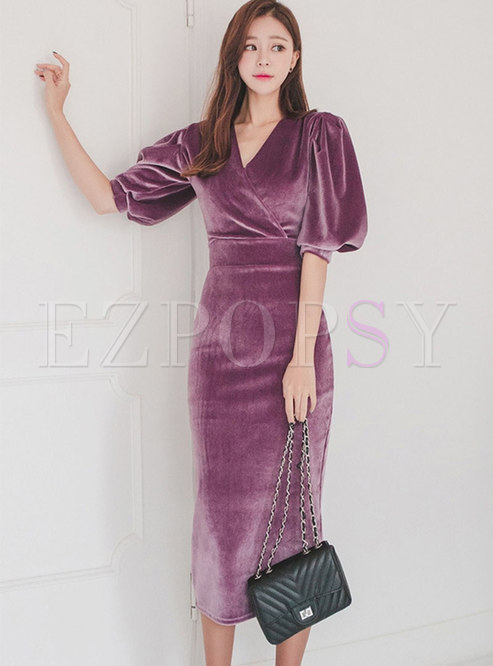 4b4960346c10 Bodycon Dresses.   Purple Velvet ...
