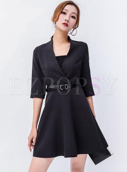Skater Dresses.   Chic Black V-neck Half Sleeve ... 5807f4e8b