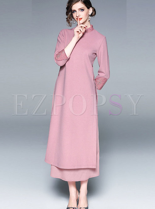 Vintage Standing Collar Three Quarters Sleeve Dress