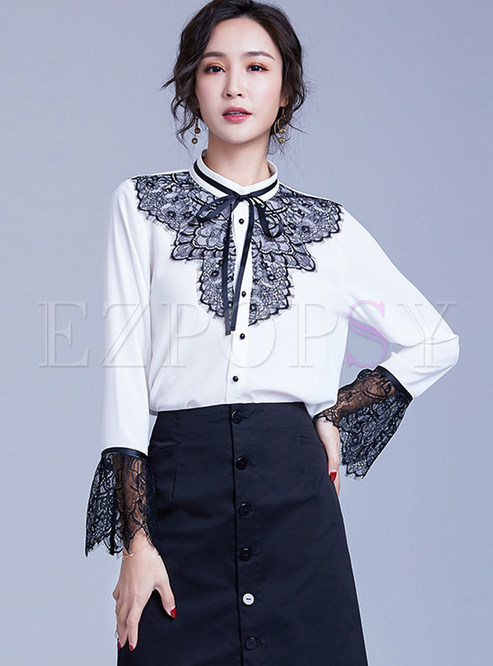 Stylish Bowknot Tied Long Sleeve Lace Splicing Blouse