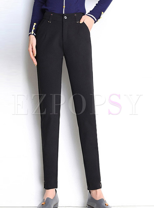 Casual Black High Waist Slim Pencil Pants