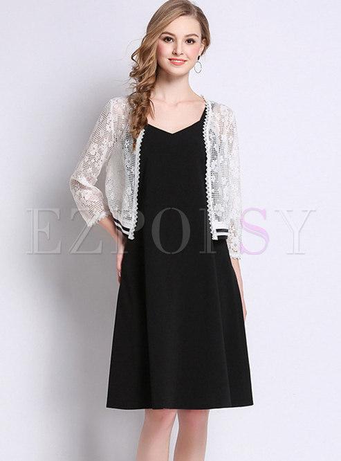 Trendy Off Shoulder Skater Dress & Lace Cardigan