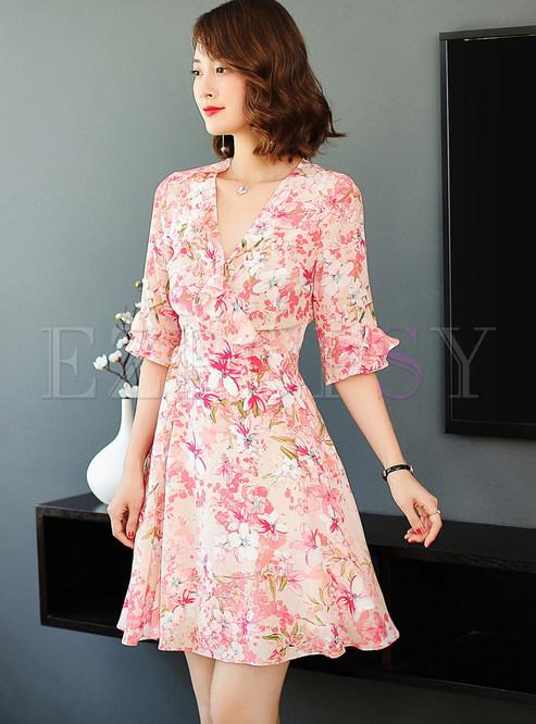 V-neck Falbala Half Sleeve Waist Print Silk Dress