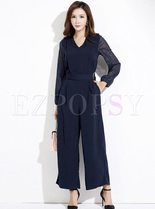Elegant Splicing V-neck Belted Wide Leg Jumpsuit