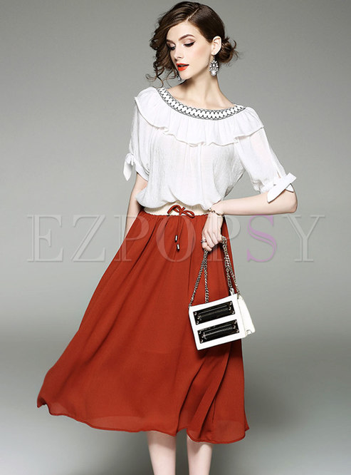 Stylish Slash Neck Falbala T-shirt & Tie-waist A Line Skirt