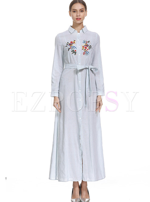 Trendy Lapel Long Sleeve Bowknot Tie-Waist Maxi Dress