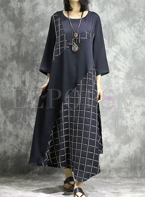Retro Plaid Splicing O-neck Asymmetric Maxi Dress