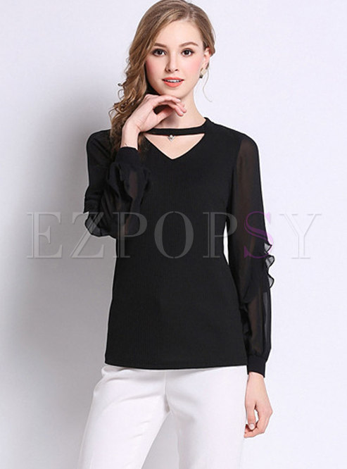 Black Casual Lantern Sleeve Knitted Bottoming Top