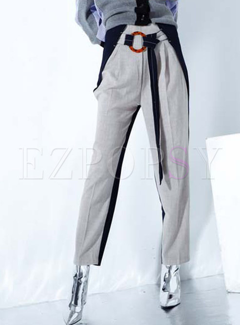Stylish Color-blocked Belted Linen Slim Pants
