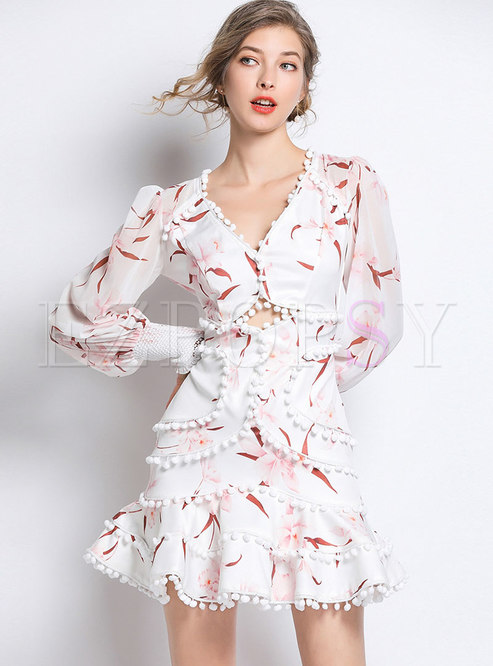 Print V-neck Hollow Out Slim Falbala Skater Dress