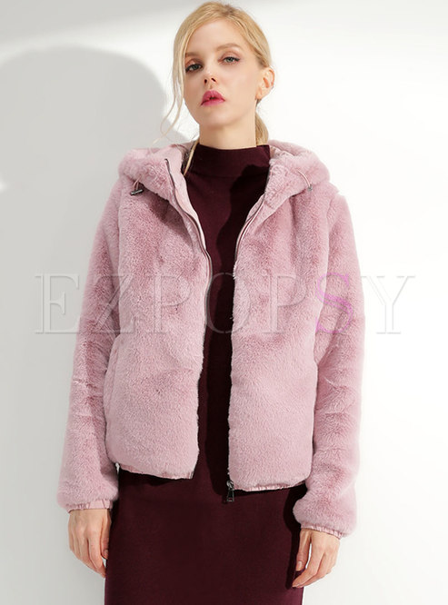Chic Pure Color Hooded Zipper Hairy Short Coat